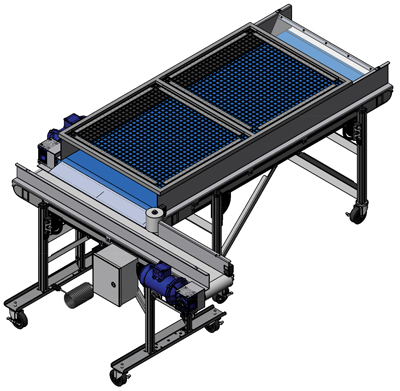 Conveyor with with Transfer Plate and Wire Mesh Cover